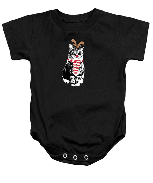 Rudolph The Red Nosed Cat- Art By Linda Woods Baby Onesie