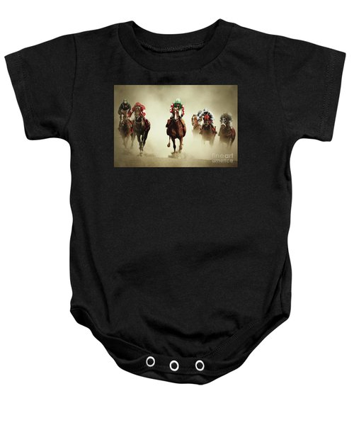 Running Horses In Dust Baby Onesie