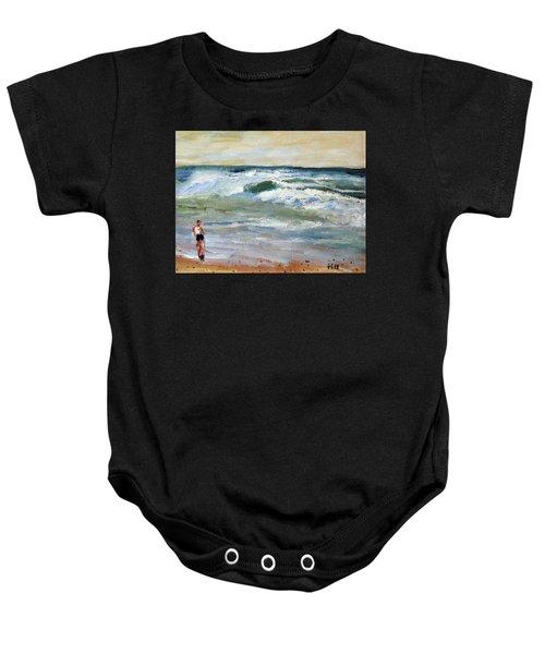 Running The Beach Baby Onesie