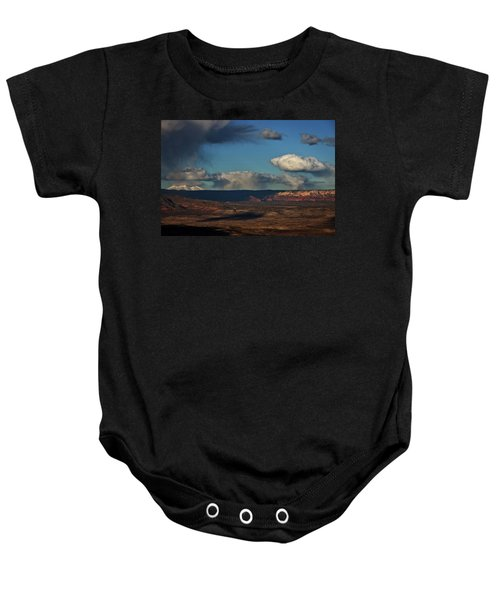 San Francisco Peaks With Snow And Clouds Baby Onesie