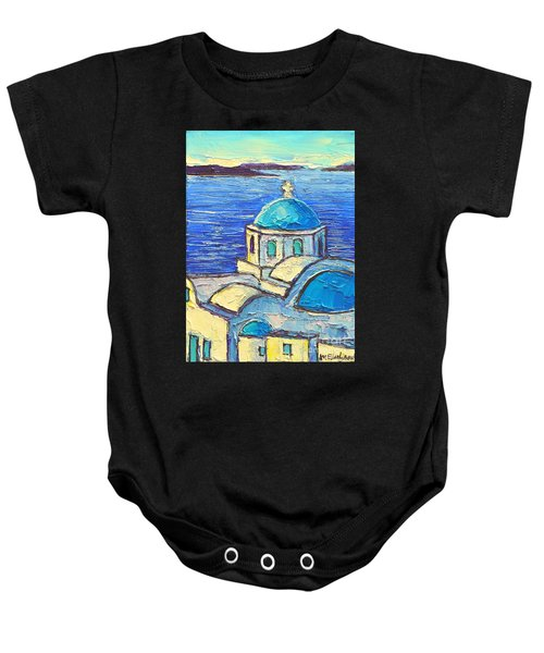 Santorini  Blue Baby Onesie