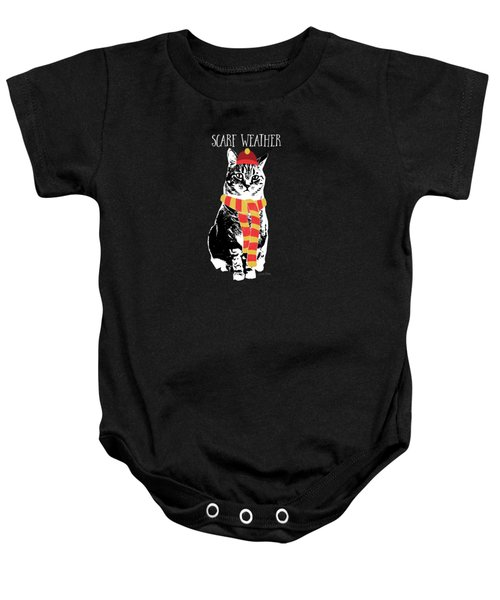Scarf Weather Cat- Art By Linda Woods Baby Onesie