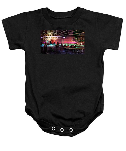Baby Onesie featuring the painting Sci-fi Lounge by Tithi Luadthong