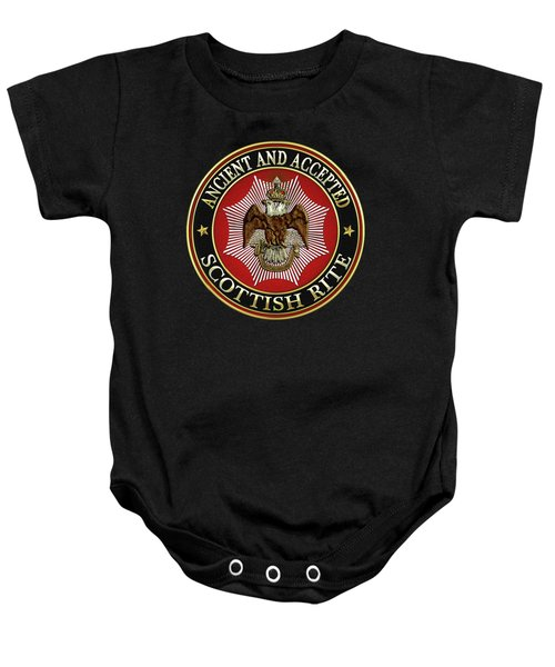 Scottish Rite Double-headed Eagle On Black Leather Baby Onesie