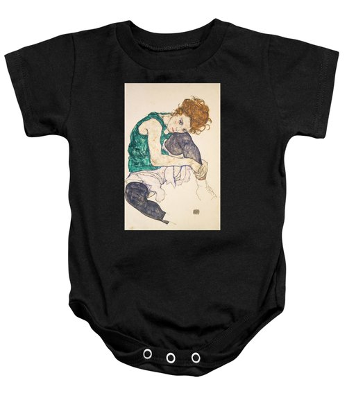 Seated Woman With Legs Drawn Up Baby Onesie