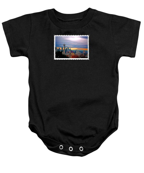 Seattle At Sunset Baby Onesie by Elaine Plesser