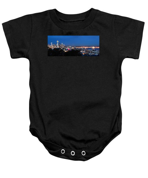 Baby Onesie featuring the photograph Seattle Panorama At Twilight by Peter Simmons