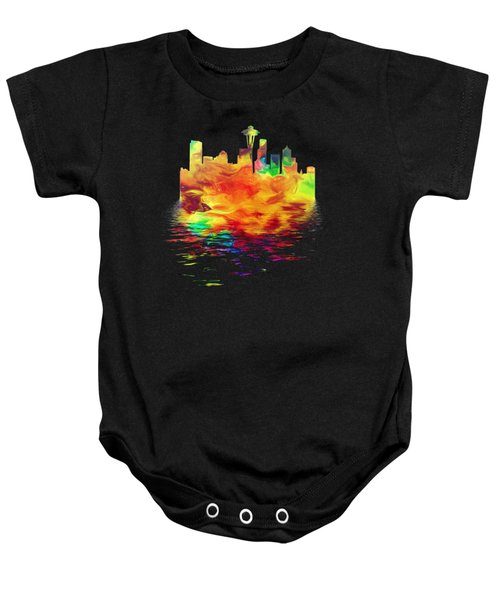 Seattle Skyline, Orange Tones On Black Baby Onesie by Pamela Saville