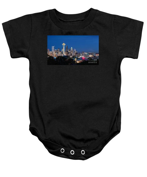 Baby Onesie featuring the photograph Seattle Twight by Peter Simmons