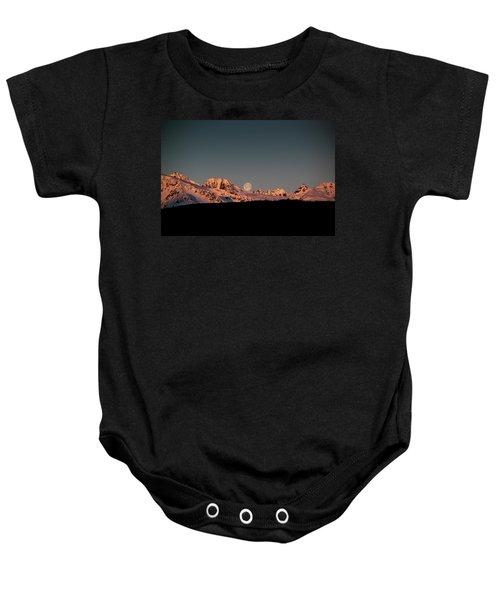 Setting Moon Over Alaskan Peaks V Baby Onesie