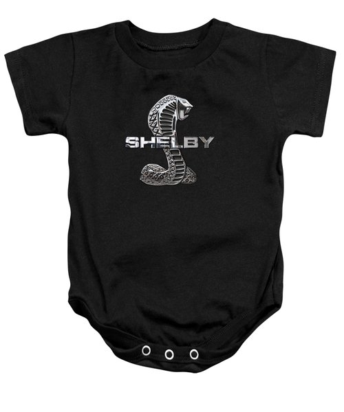 Shelby Cobra - 3d Badge On Black Baby Onesie by Serge Averbukh