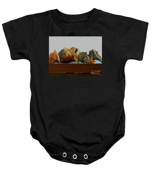Shells Of The Sea In Orange And Gray Baby Onesie