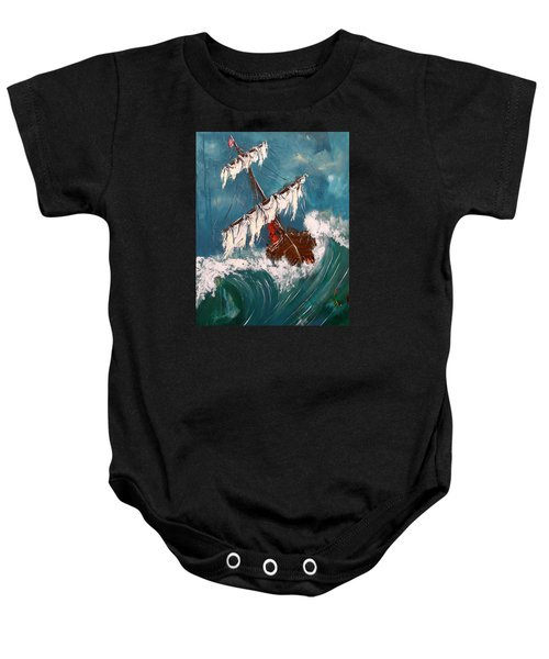 Ship In A Storm Baby Onesie