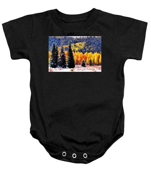 Shivering Pines In Autumn Baby Onesie