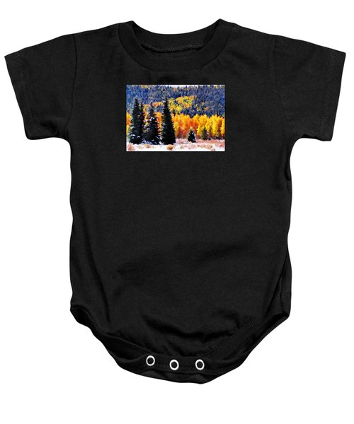 Shivering Pines In Autumn Baby Onesie