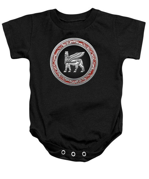 Silver Babylonian Winged Bull  Baby Onesie by Serge Averbukh