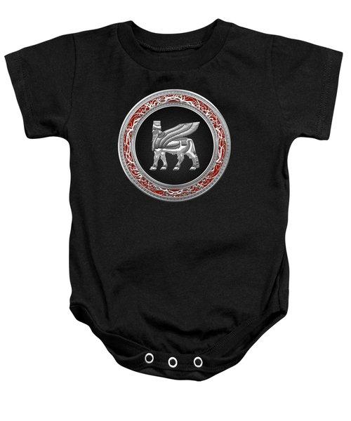 Silver Babylonian Winged Bull  Baby Onesie
