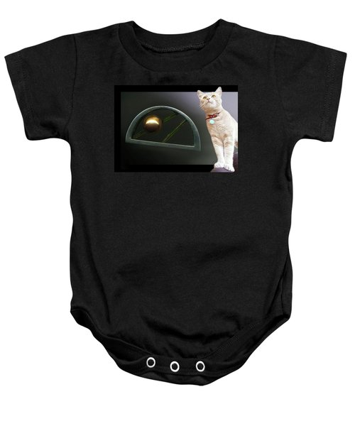 Cat, Silver And Gold  Brooch Baby Onesie