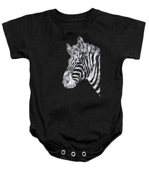 Silver Zebra, African Wildlife, Wild Animal In Silver Gilt Baby Onesie