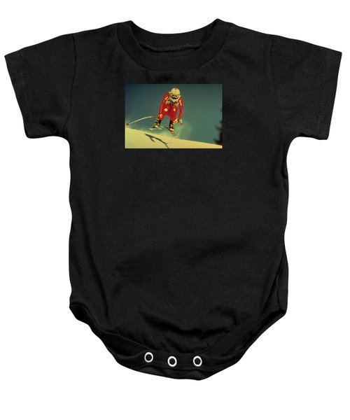 Baby Onesie featuring the photograph Skiing In Crans Montana by Travel Pics