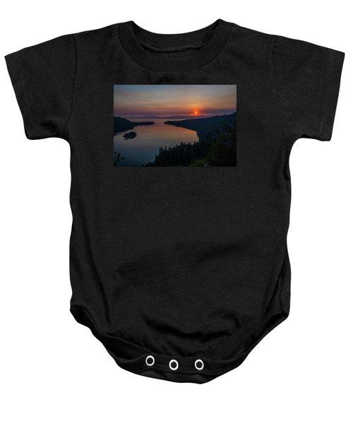 Smoke-diffused Sun At Emerald Bay Baby Onesie