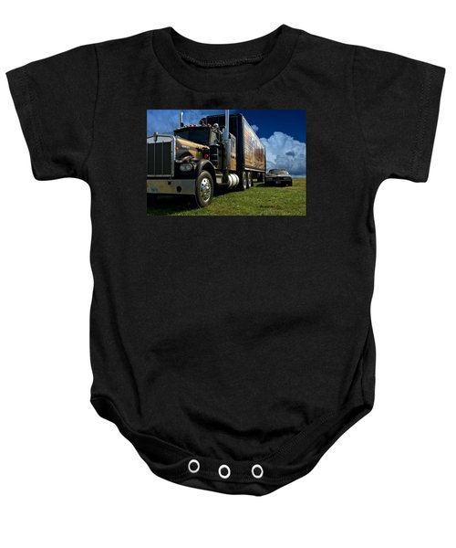 Smokey And The Bandit Tribute 1973 Kenworth W900 Black And Gold Semi Truck And The Bandit Transam Baby Onesie