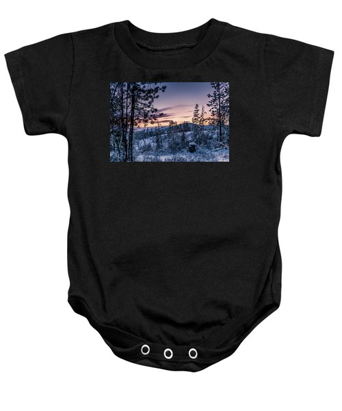 Snow Coved Trees And Sunset Baby Onesie