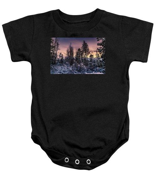 Snow Covered Pine Trees Baby Onesie