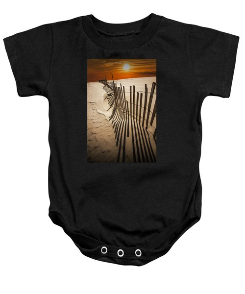 Snow Fence At Sunset Baby Onesie