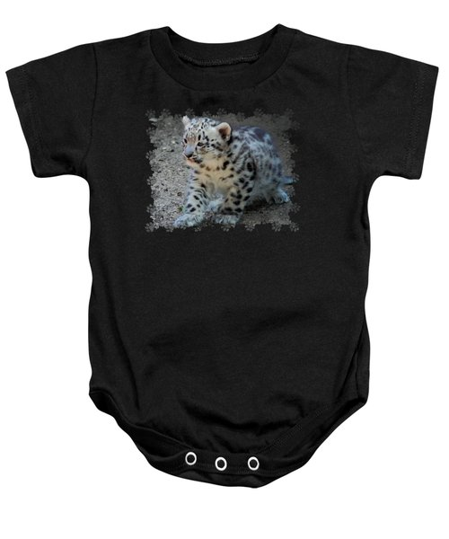 Snow Leopard Cub Paws Border Baby Onesie by Terry DeLuco