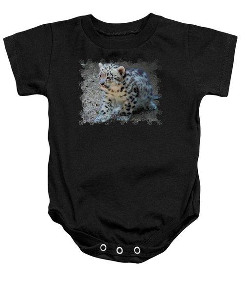 Snow Leopard Cub Paws Border Baby Onesie