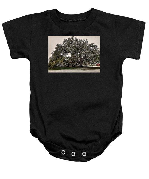 Snowfall On Emancipation Oak Tree Baby Onesie