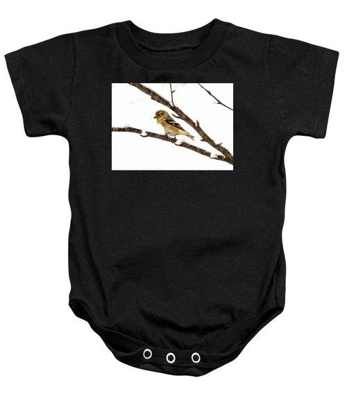 Snowy Day Goldfinch Baby Onesie