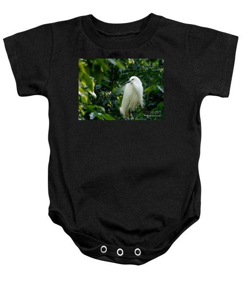 Snowy Egret In The Trees Baby Onesie