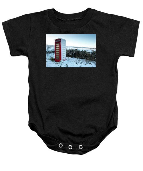 Snowy Telephone Box Baby Onesie