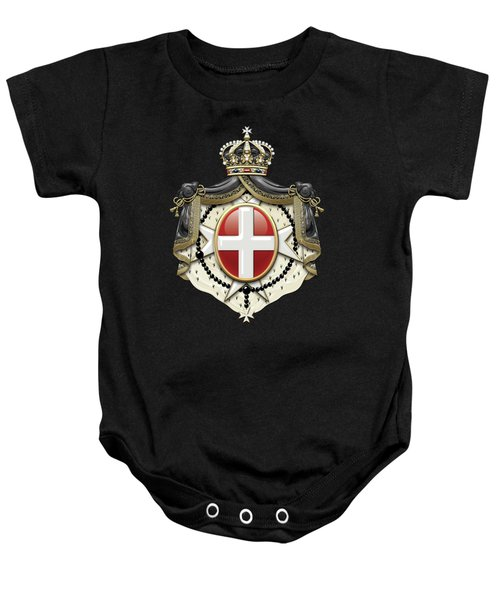 Sovereign Military Order Of Malta Coat Of Arms Over Black Velvet Baby Onesie