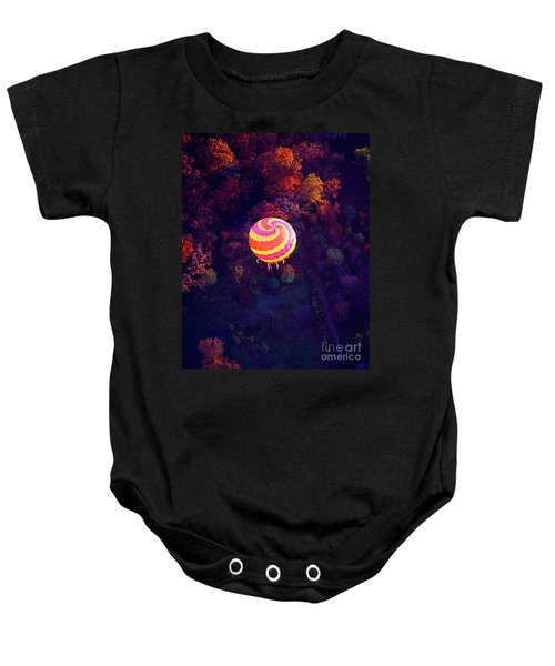 Spiral Colored Hot Air Balloon Over Fall Tree Tops Mchenry   Baby Onesie