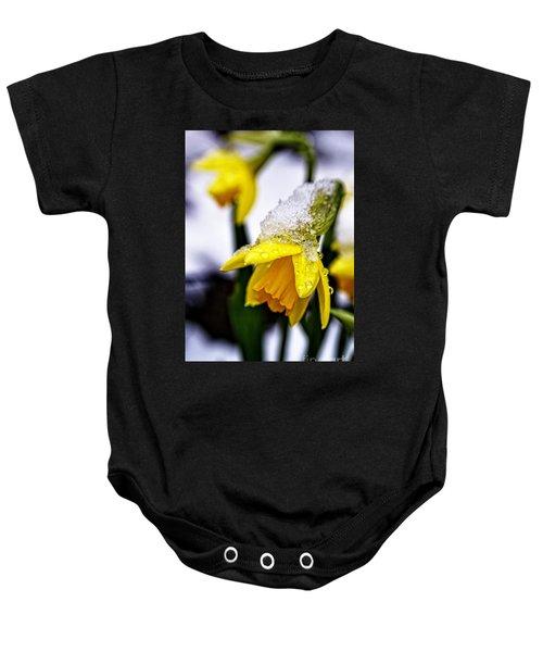 Spring Daffodil Flowers In Snow Baby Onesie