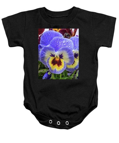 Spring Pansies Flower Baby Onesie