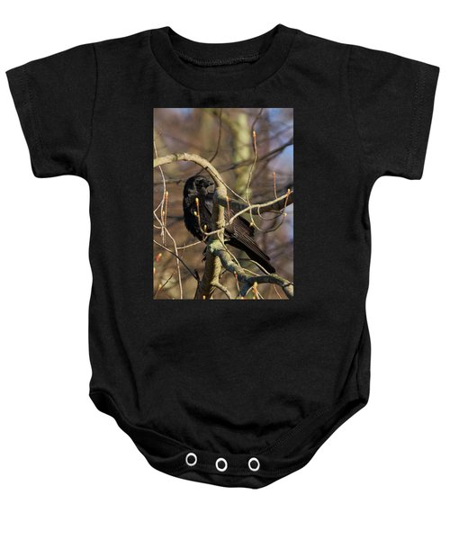 Baby Onesie featuring the photograph Springtime Crow by Bill Wakeley