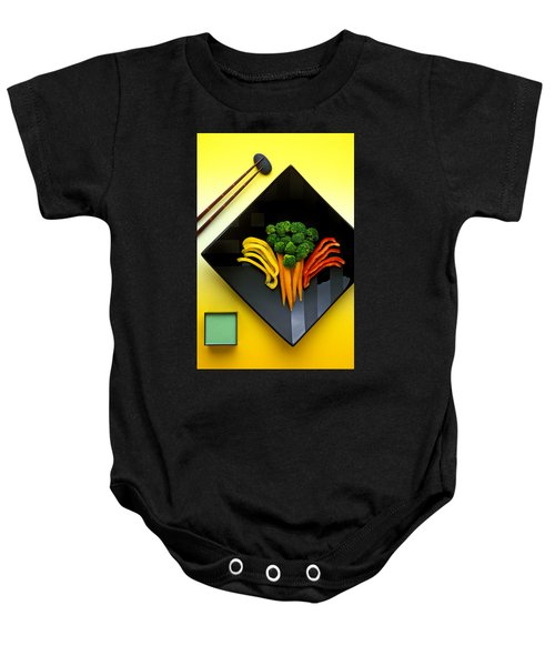Square Plate Baby Onesie by Garry Gay
