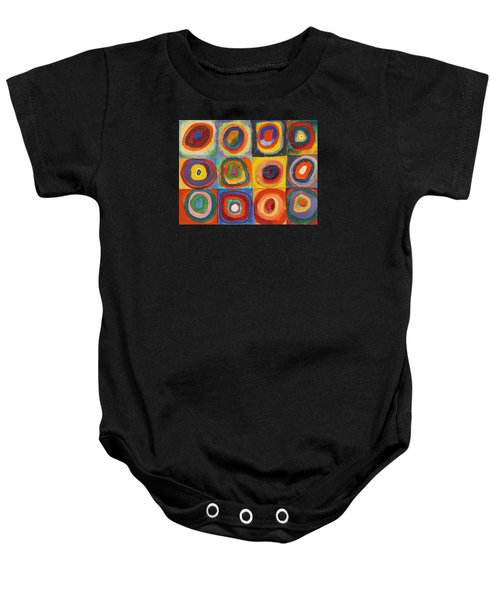 Squares With Concentric Circles Baby Onesie