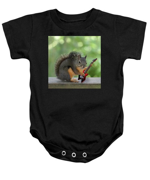 Squirrel Playing Electric Guitar Baby Onesie