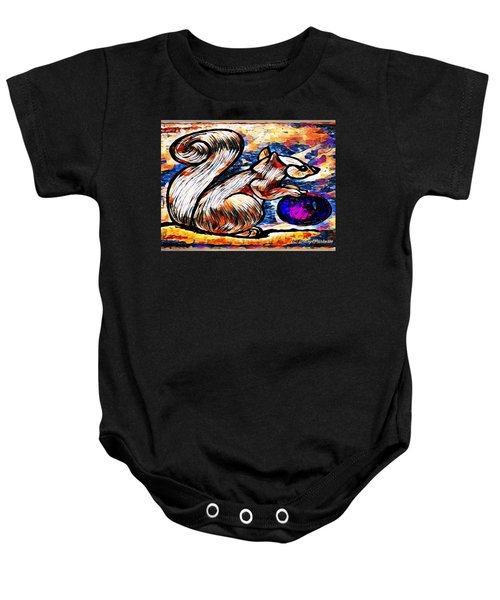 Squirrel With Christmas Ornament Baby Onesie