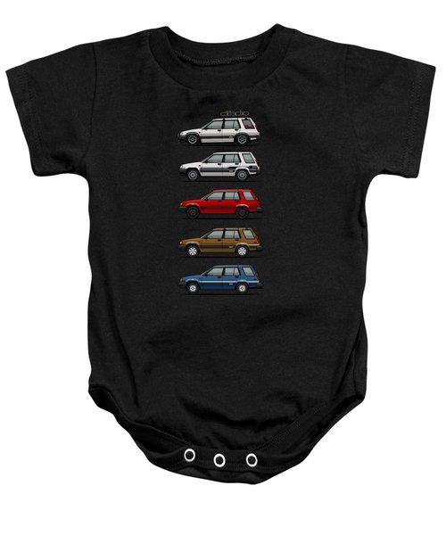Stack Of Toyota Tercel Sr5 4wd Al25 Wagons Baby Onesie