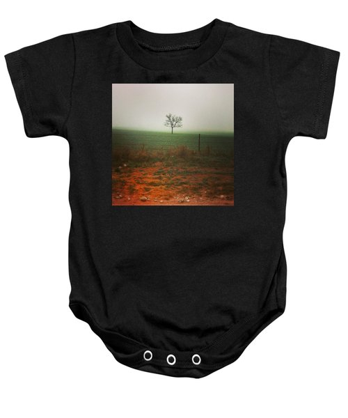 Standing Alone, A Lone Tree In The Fog. Baby Onesie
