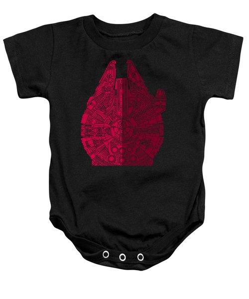 Star Wars Art - Millennium Falcon - Red, Black Baby Onesie