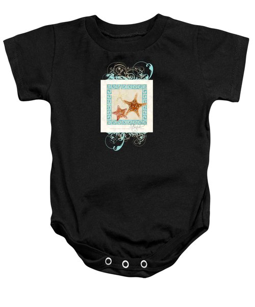 Starfish Greek Key Pattern W Swirls Baby Onesie