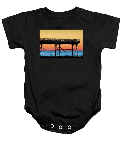 Starlings At Sunset In Aberystwyth Baby Onesie