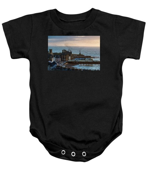 Starlings Over Aberystwyth On The West Wales Coast Baby Onesie